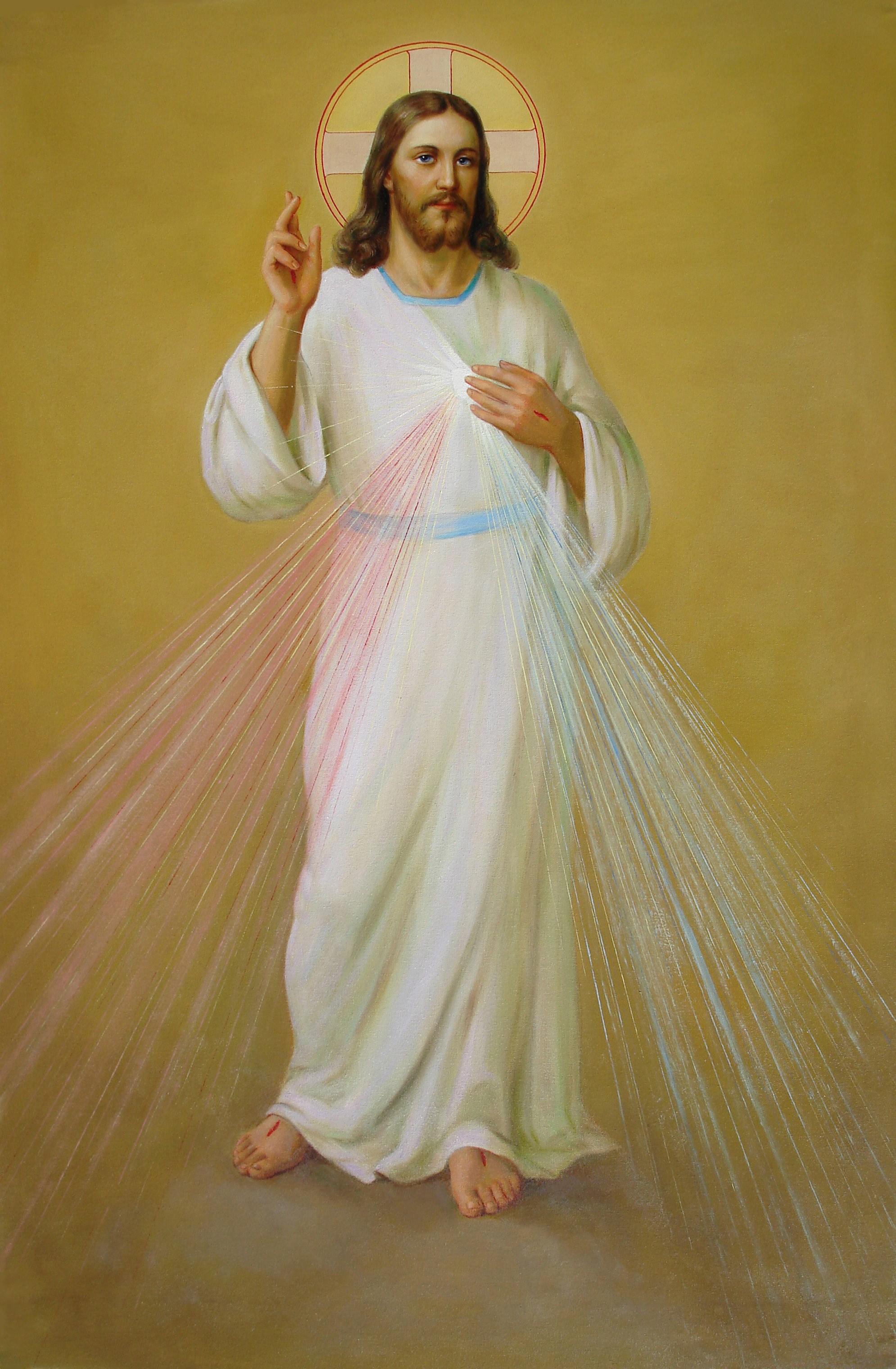 Jesús de la Divina Misericordia fondo dorado