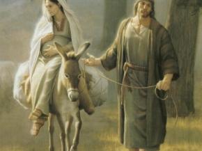 Virgen María escapando a Egipto con san José