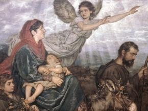 Virgen María con san José escapando a Egipto