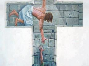 Jesús en la cruz salvandonos