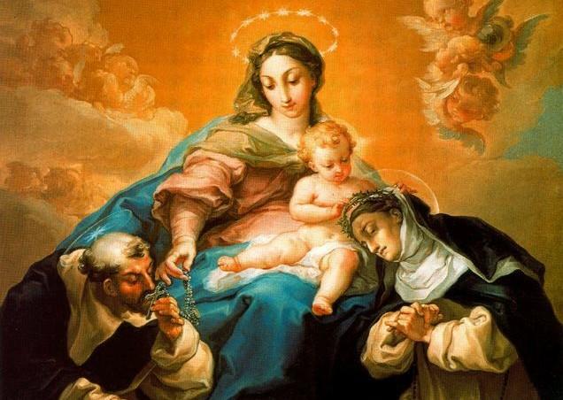 Izq. Santo Domingo Guzman recibiendo el Rosario , Der. Santa Catalina de Siena