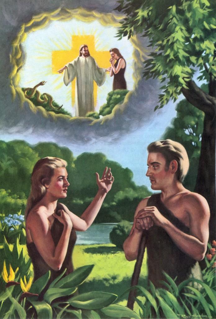 Eva hablando con Adán